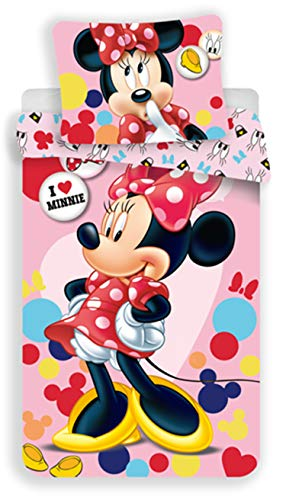 Disney Parure Copripiumino per letto Singolo a 1 Piazza, Minnie, rosa