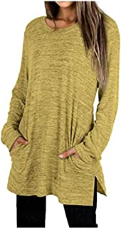 SELILALI Women's Long Sleeve Tops Casual Crewneck Blouse T-Shirt Solid Tunic Tee Shirt Pullover Top with Pockets