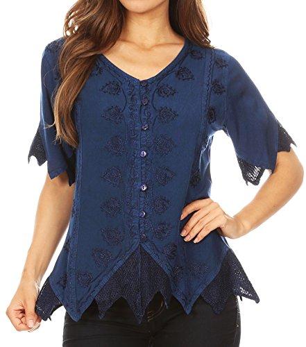 Sakkas 1668 - Emma Damen Stonewashed V-Ausschnitt Kurzarm Bluse Top Häkeln Button - Blau - L