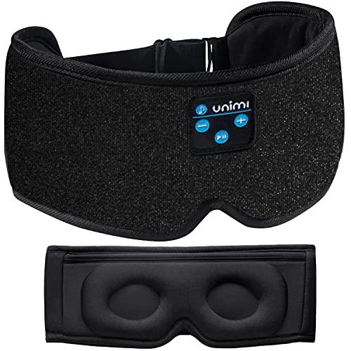 2021 Verbesserte 3D-Bluetooth-Schlafmaske, Unimi Wireless Bluetooth-Augenmaske für Musikreisen, HIFI-Klangqualität, waschbare Freisprech-Schlafmaske mit integriertem Lautsprecher und Mikrofon