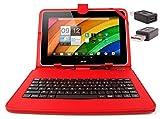 DURAGADGET Etui aspect cuir rouge + clavier intégré AZERTY (français) pour tablettes Acer Iconia Tab A700 / W700 et...
