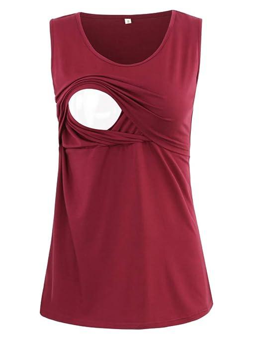 BBHoping Womens 2 Layers Comfy Maternity Nursing Tank Tops Sleeveless /& Long Sleeve Breastfeeding Clothes