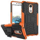 TiHen Handyhülle für Lenovo K6 Note Hülle, 360 Grad Ganzkörper Schutzhülle + Panzerglas Schutzfolie 2 Stück Stoßfest zhülle Handys Tasche Bumper Hülle Cover Skin mit Ständer -Orange