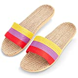 Zodaca House Slippers for Women, Linen and Jute House Shoes for Women (L, 8.5-9, Tri Color)