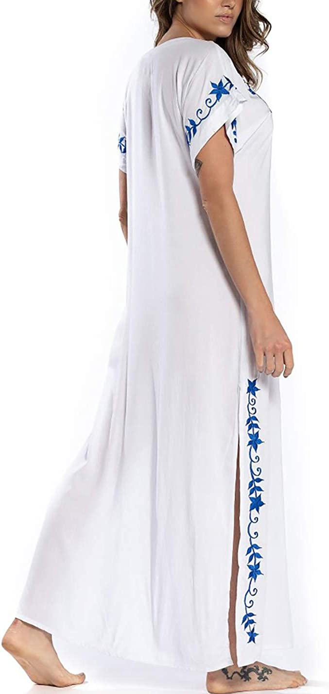 AILUNSNIKA Womens Embroidered Bikini Swimsuit Cover Up Long Casual Kaftan Dress Beach Caftans