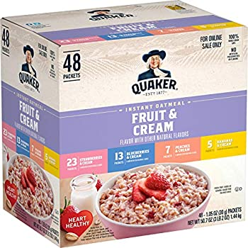 Quaker Instant Oatmeal Fruit and Cream 4 Flavor Variety Pack Individual Packets 48 Count