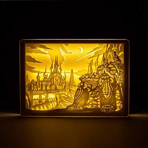 World of Warcraft, papier ombre sculpture lumière, papier ombre sculpture anniversaire lumière cadeau de nuit, cadeau créatif culturel fait à la main, la lumière sculpture en papier 3D, boîte à lumièr