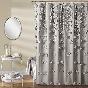 Lush Decor Riley Shower Curtain | Bow Tie Textured Fabric Shabby Chic Farmhouse Style for Bathroom x 72 Light Gray