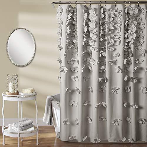 Lush Decor Riley Shower Curtain | Bow Tie Textured Fabric Shabby Chic Farmhouse Style for Bathroom, x 72, Light Gray