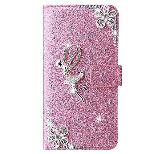Samsung Galaxy S10 Plus Case, 3D Handmade Gems Crystal Glitter Plum Angle Girly Wallet Phone Cases Shockproof PU Leather Stand Magnetic Flip Notebook Protective Cover for Samsung Galaxy S10 Plus Pink