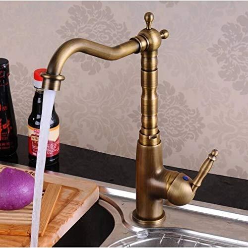 Vintage Retro Latón antiguo Manija única Un orificio Baño Cocina Lavabo Grifo Mezclador Grifo Caño giratorio Montado en la cubierta