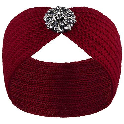 VIJIV Extra breiter gestrickter Turban-Stirnbänder, Kopftuch, Schal für Damen und Mädchen, stilvolle Kopfbedeckung - Rot - Einheitsgröße