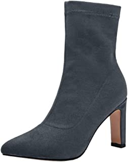 ELEEMEE Women Fashion Chunky Heel Stretch Boots