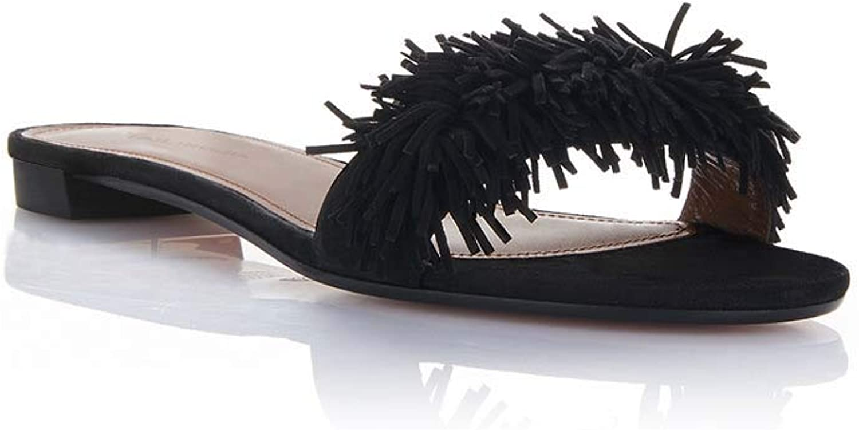Women's Summer Faux Suede Tassel Flats Beach Flip Flops Slip on Sandals shoes