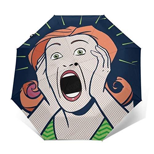 TISAGUER Paraguas automático de Apertura/Cierre,Estilo de Cartel Retro,una Mujer asustada,Paraguas pequeño Plegable a Prueba de Viento