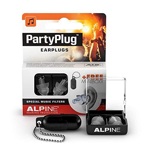 Alpine PartyPlug Tapones para los oídos para Fiestas, festivales de música y conciertos - Gran calidad musical - Cómodo material hipoalergénico + Contenedor llavero - Tapones reutilizables - Clear