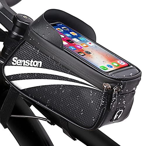 Senston Bolsas de Manillar de Ciclismo con Superficie Impermeable, Bolsa de Marco Frontal de Bicicleta de Gran Espacio, Bolsa de Almacenamiento de Bicicleta para teléfono de Menos de 6.5 Pulgadas