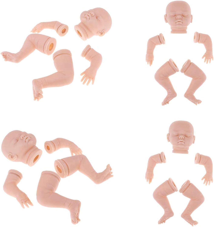 Baoblaze 4 Set 18'' Silicone Vinyl Newborn Doll Baby Unpainted Blank Full Body & Limbs DIY Doll Kits Adult Collections