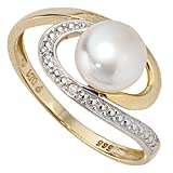 JOBO Damen-Ring aus 585 Gold mit Perle und 2 Diamanten Größe 50