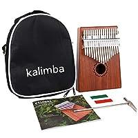 カリンバ 17キー 親指ピアノ Kalimba Thumb Piano 17鍵、マホガニー木製、バッグ、ハンマー、ミュージックブック付き、音楽愛好家に最適、初心者、子供