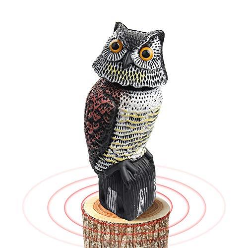 WINWEND Bird Scarer Pigeon Deterrent, Fake Owl Decoy Statue with Rotating Head, Realistic Garden Owl Scarecrow Scare Bird Away Garden Yard Outdoor Decoration (15 * 15 * 38cm)