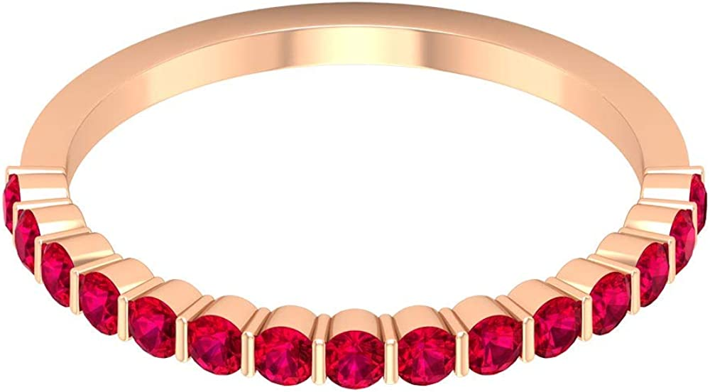 3/4 Ct Certified Ruby Half Eternity Ring, Unique Women Engagement Ring, Statement Gemstone Wedding Band Ring, Classic Anniversary Promise Ring, 14K Gold
