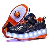 Zapatillas De Patinaje Con Ruedas Zapatillas Con Luz LED Zapatillas De Skate Técnicas Luminosas De Doble Rueda Zapatillas De Gimnasia Al Aire Libre Unisex Con Carga USB A,37