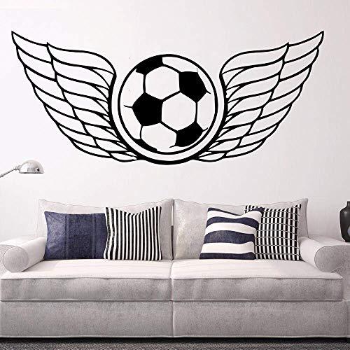Kunst Wandaufkleber Fußball Flügel Wanddekoration Interieur Ball Sport Spieler Raumdekoration Vinyl Kunst Abnehmbares Poster Wandbild 57 * 24Cm