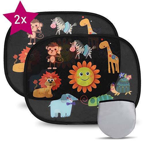 Fansport Sonnenschutz Auto Baby mädchen-Sonnenschutz Fenster innen Auto Sonnenschutz Auto Kinder mit uv Schutz mit saugnapf Sonnenschutz Fenster innen Auto,Pack of 2 (Gelb)
