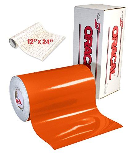 Oracal 651 Klebefolie für Bastelschneider, Stanzer und Vinyl-Schilderschneider, orange glänzend, 30,5 cm x 4,6 m mit Transferpapier