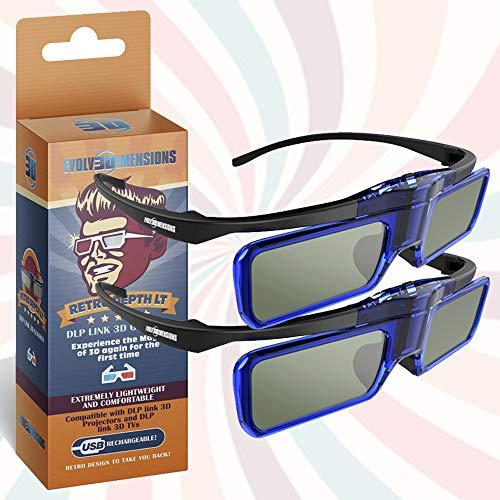 RetroDepth LT Lightweight Rechargeable DLP Link 3D Glasses for all