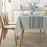 XGguo Tischdecke Leinenoptik Lotuseffekt Tischwäsche Tischtuch Jacquard-Stickerei imitiert Quasten aus Baumwolle und Leinen