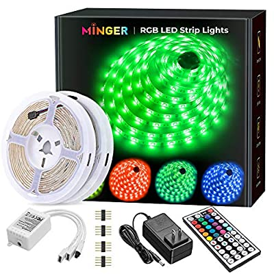 MINGER Led Strip Lights Kit, 32.8Ft RGB Light Strip with Remote, Controller Box and Support Clips for Room, Bedroom, Home, Kitchen Cabinet, Party Decoration 12V/3A Adapter, Non-Waterproof, 2x16.4Ft from MINGER