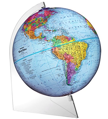 "Replogle Panorama — Blue Ocean Political Globe, Raised Relief Map, Smooth 360° Rotation, Acrylic Lightweight Base, Minimalistic Desktop Design (12""/30cm Diameter)"