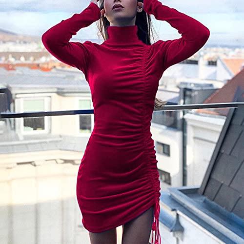 OtoñO E Invierno para Mujer Moda Casual Cuello Redondo Color SóLido Gamuza CordóN Cuello Alto Manga Larga Vestido Ajustado A La Cadera Falda Vestido Corto Mujer