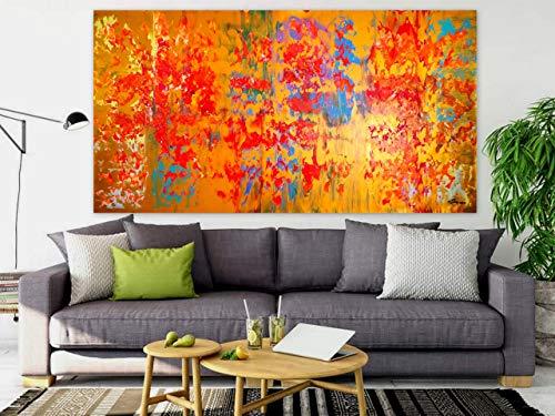 WEISE XXL Acryl BILD Abstrakt Gemälde Leinwand 160 x 80 auf Keilrahmen 96/19 NEU