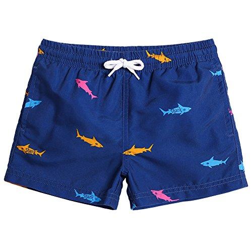 MaaMgic Kleine Jungen Badeshorts Schnelltrocknend Boardshorts mit Mesh-Futter Taschen und Verstellbarem Tunnelzug MEHRWEG, 3 Jahre, Navy Blau Hai