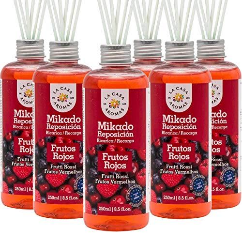La Casa de los Aromas, Set de 6 x 250ml Ambientadores Mikado Frutos Rojos para Reposición con Varillas, Difusor Líquido de Aroma Frutos Rojos, Perfume Duradero para el Hogar, Baño, Casa - 6x250 ml