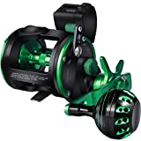 Sougayilang Line Counter Trolling Fishing Reel,Conventional Level Wind Trolling Reel, Graphite Body, Durable Stainless-Steel and Brass Gears, Large Line Capacity, Powerful Carbon Disc Drag-RZC20R