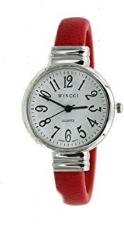 Women's Classic Snake Style Easy Read Bangle cuff Watch-Red
