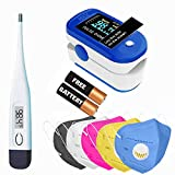 House of Sensation 7 in 1 Combo of Fingertips Pulse Oximeter, Digital Thermometer, 5x KN95 Face Mask - Pack of 1