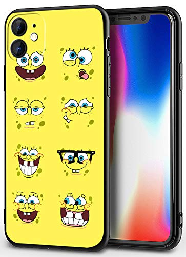 iPhone 11 Case - Cute Anime Design Ultra-Thin Cover Cases for iPhone 11 6.1' (Spongebob-Emoticon)