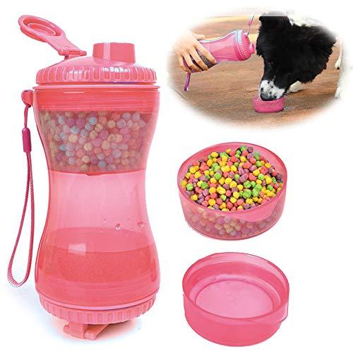 PJDDP Tragbare Hundewasserflasche Und Futterbehälter Für Unterwegs 2-In-1-Zweikammerflasche Mit Zwei Trinkbecherschalen, Wasser- Und Futterautomaten Für Hunde Katzen Outdoor Travel Walking,Rosa