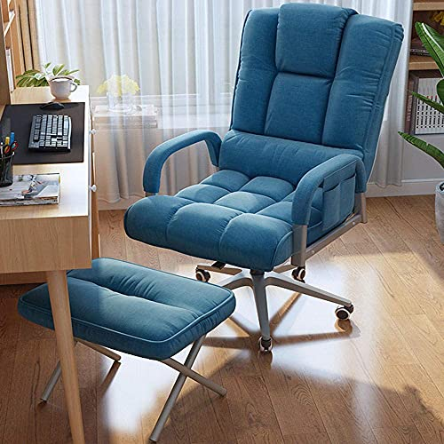 WGFGXQ Reclining Garden Chairs,Executive Reclining Computer Desk Chair with Footrest, Gaming Computer Desk Office Swivel Reclining Chair-Five-Claw Blue