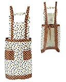 Stylish Flower Pattern Women's Fashion Floral Cotton Chef Cooking Cook Apron Bib with 2 Pockets (Color8)