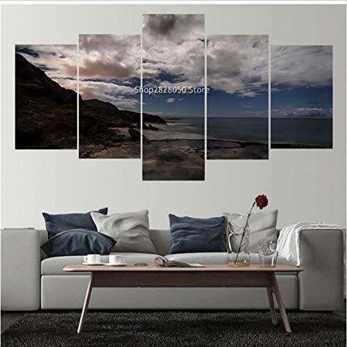 Lllyzz canvas afdrukken Rushed 5 panelen canvas fotolijst Seacape landschapsfoto's decoratie ideeën voor keuken Hd beeld kunstwerk woningcultuur afdrukken op canvas 150x80cm