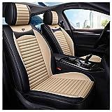 Funda de asiento de automóvil, delantera y trasera Juego completo de 5 asientos Protectores de asiento de cuero universal Four Seasons Pad Airbag compatible. (color : Blanco)