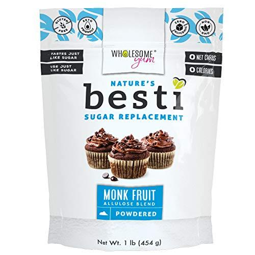 Wholesome Yum Besti 1:1 Natural Powdered Sugar Replacement  Keto Monk Fruit Sweetener With Allulose 16 oz / 1 lb  Non GMO Zero Carb Zero Calorie Confectioner Sugar Substitute