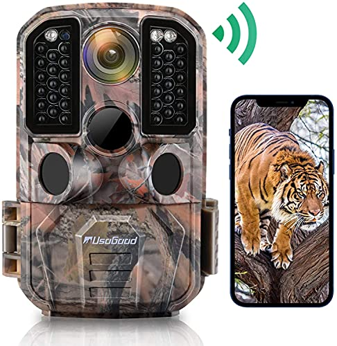 Usogood Wildlife Camera, WiFi 24MP 1296P Trail Game Cameras, with IR Night Vision Motion Activated IP66 Waterproof for Wildlife Monitoring, Hunting Games, Home Security and Audio Live Feed