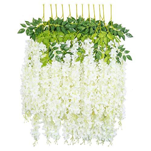 HEBE 12 Pack Artificial Wisteria Vine Ratta Silk Hanging Flower Garland Vine Wedding Decor Fake Long Wisteria Hanging Bush Flowers String Home Party Decor,White(40 FT)
